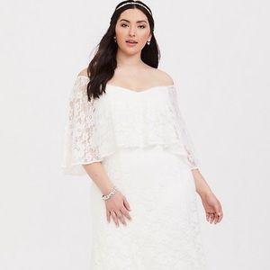 White Torrid Lace Caplet wedding